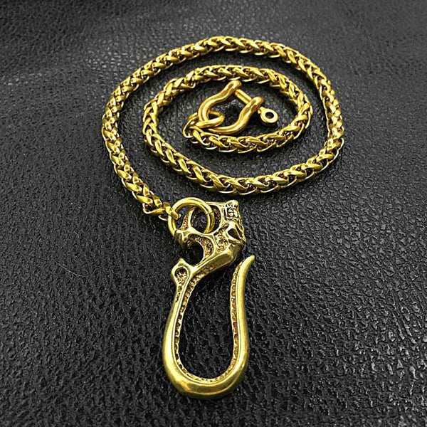 "Fashion Brass 18"" Mens Skull Hook Key Chain Pants Chain Wallet Chain Motorcycle Wallet Chain for Men"