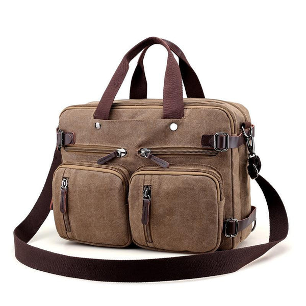 Cool Canvas Leather Mens Business Black Briefcase Khaki Laptop Shoulder Bag Handbag for Men