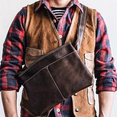 Genuine Leather Mens Cool Small Messenger Bag iPad Bag Chest Bag Bike Bag Cycling Bag for men