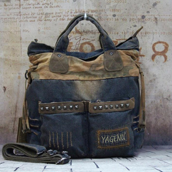 Blue Denim Mens Large Handbag Vertical Messenger Bags Casual Jean Postman Bags Courier Bag For Men