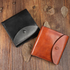 Handmade Mens Cool Black billfold Leather Wallet Men Trifold Brown Card Wallets for Men