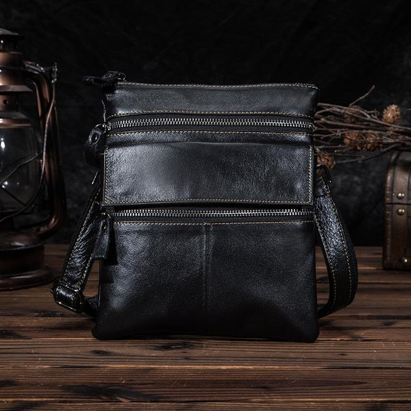 Black Cool Leather 8 inches Small Zipper Messenger Bag Vertical Shoulder Bag Brown Side Bag For Men