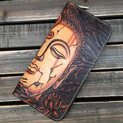Black Handmade Buddha Leather Long Wallet Zipper Wallet Clutch Wallet For Men