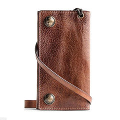 Handmade Mens Cool Leather Chain Wallet Biker Trucker Wallet with Chain for Men