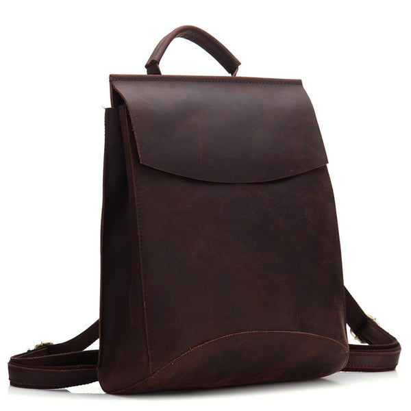 Vintage Brown LEATHER MEN'S Satchel College Backpack Travel Backpack School Backpack For Men