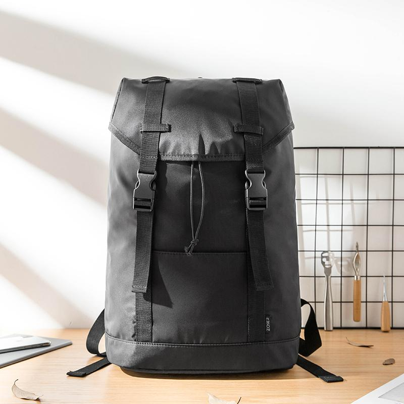 Black Cool Mens Nylon 15 inches Large Student Backpacks Hiking Backpacks Travel Backpacks Laptop Backpack for men