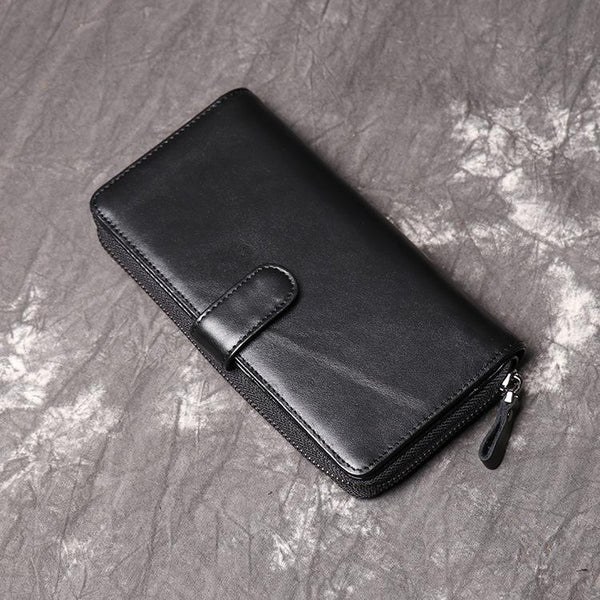 Simple Black Leather Long Wallet for Men Bifold Long Wallet Lot of Cards Wallet For Men