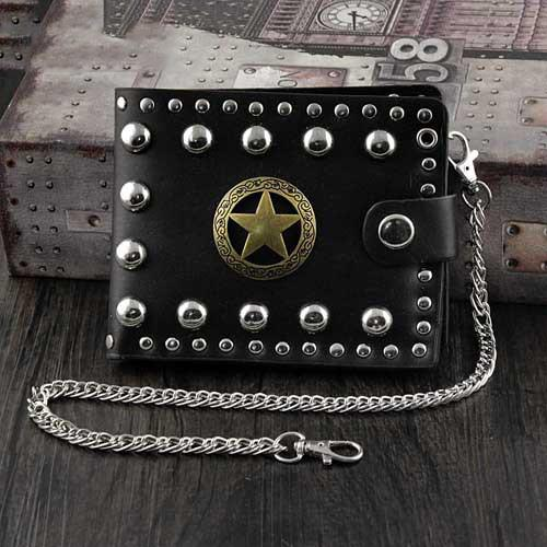 Punk Black Leather Men's Star Small Biker Wallet Chain Wallet Rock Rivet Black billfold Wallet with Chain For Men