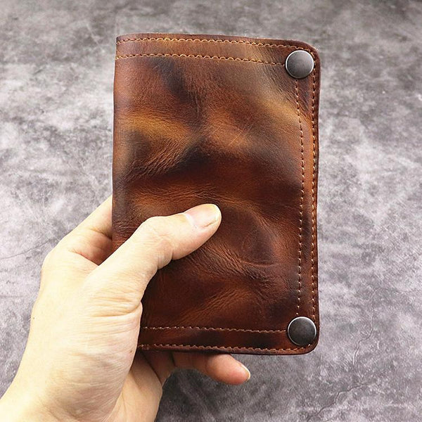 Brown Leather Men Billfold Wallet Leather Black Vertical Bifold Wallet with Coin Pocket For Men