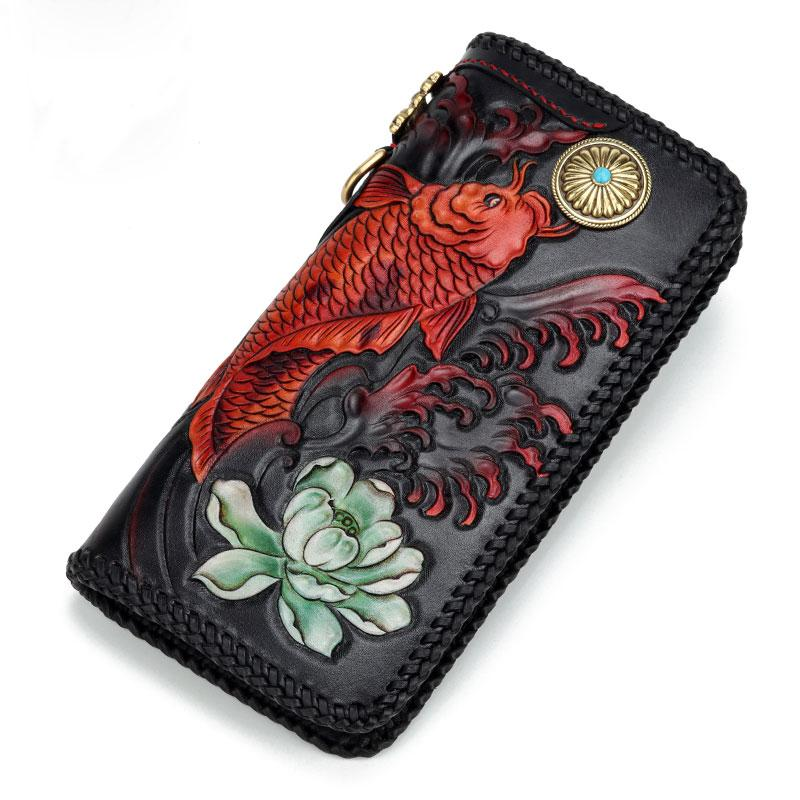 Handmade Leather Tooled Carp Prajna Mens Chain Biker Wallet Cool Leather Wallet Zipper Long Phone Wallets for Men