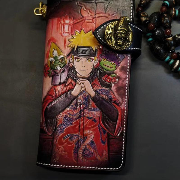 Badass Black Leather Men's Naruto Long Biker Wallet Handmade Tooled Zipper Long Wallets For Men