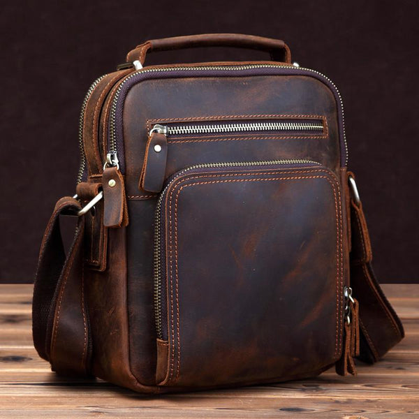 Small Brown Leather Messenger Bag Men's Vertical Side Bag Mini Vertical HandBag Courier Bag For Men