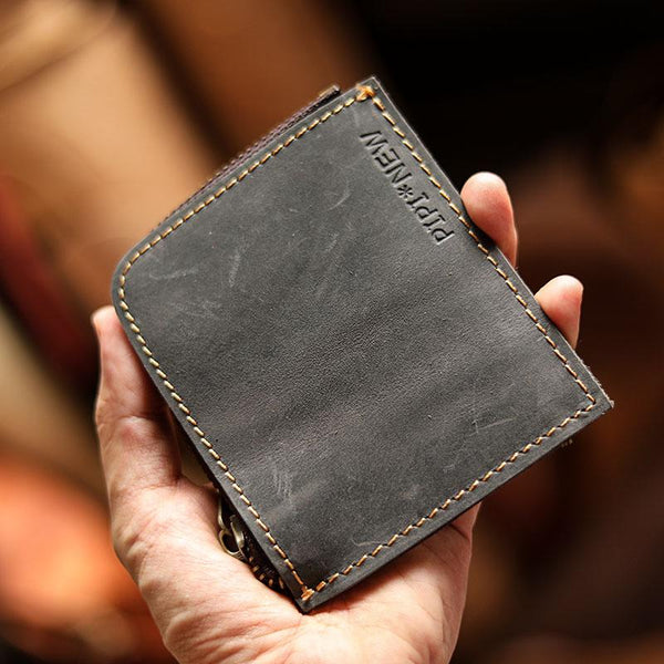 Handmade Slim Black Leather Mens billfold Wallet Zipper Small Wallet Front Pocket Wallet For Men