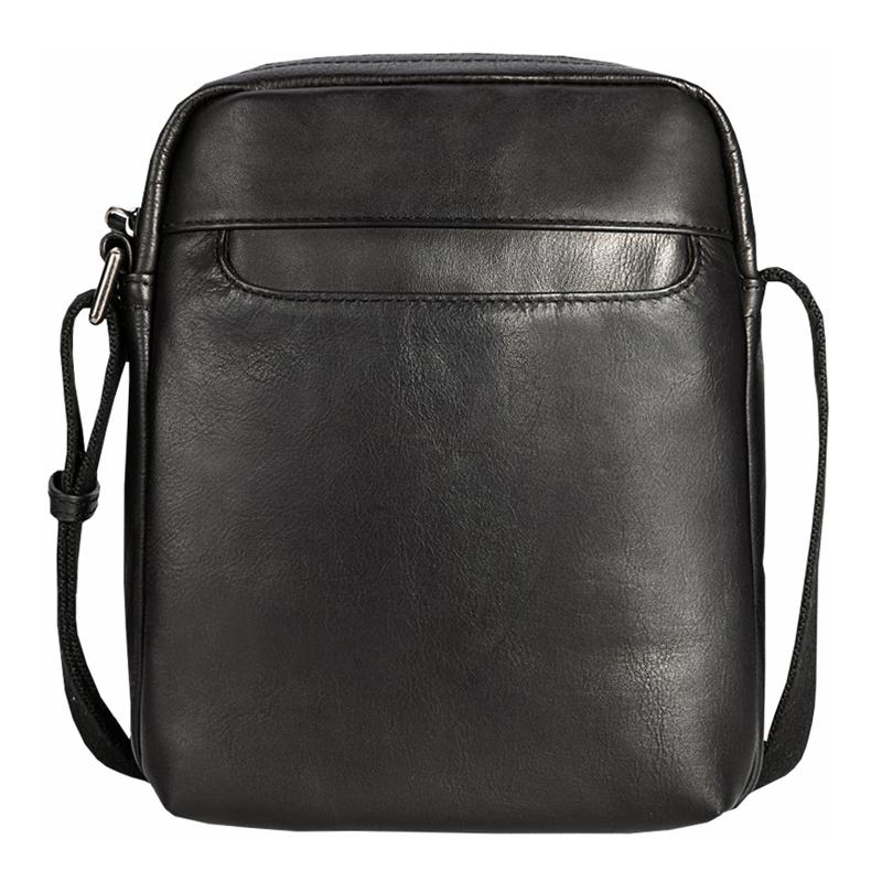 Black Cool Leather Mens Vertical Mini Courier Bag Postman Bag Black Messenger Bags Side Bag for Men