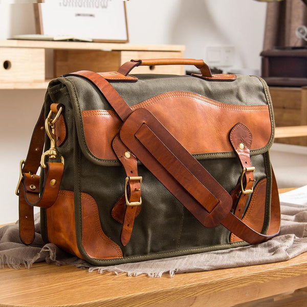 "Canvas Leather Mens 14"" Green Laptop Briefcase Handbag Side Bag Messenger Bag for Men"