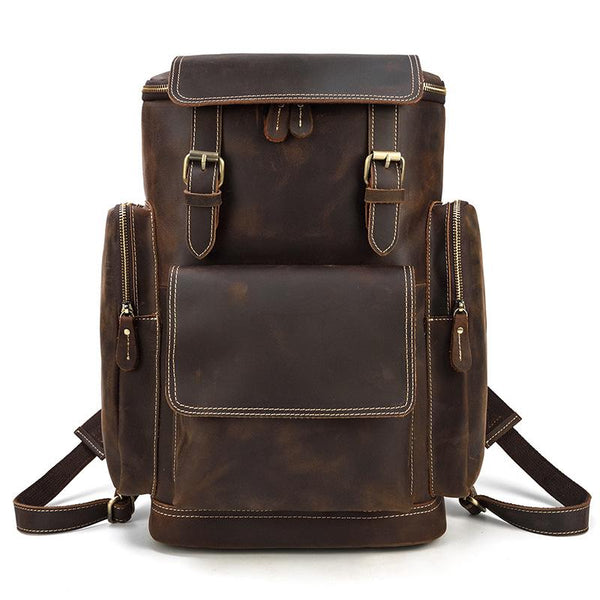 Dark Brown Leather Mens Large 15'' Travel Backpack College Backpack Barrel Backpack for Men