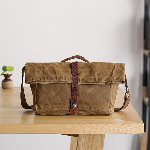 Waxed Canvas Mens Womens Side Bag 13'' Khaki Courier Bag Messenger Bag for Men