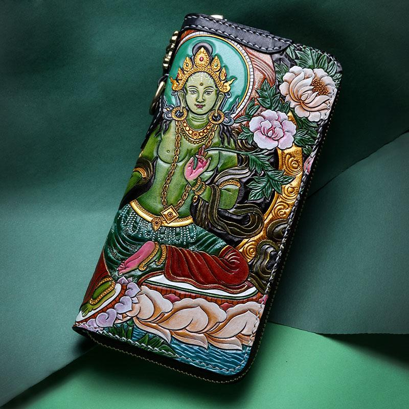 Handmade Leather Green Tara Buddhism Mens Chain Biker Wallet Cool Leather Wallet With Chain Wallets for Men