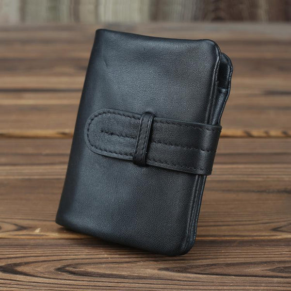 Black Leather Men's Bifold Long Wallet with Coin Pocket Billfold Wallet Card Wallet For Men