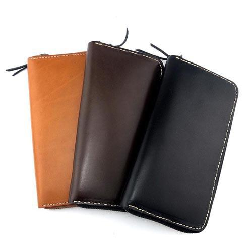 Stylish Black Leather Men's Long Wallet Clutch Wallet Tan Phone Wallet Zipper Clutch Wallet For Men