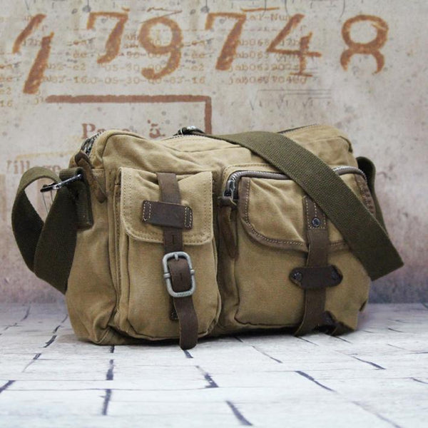 Canvas Mens Khaki Vertical Postman Bag Canvas Black Messenger Bag Courier Bags For Men