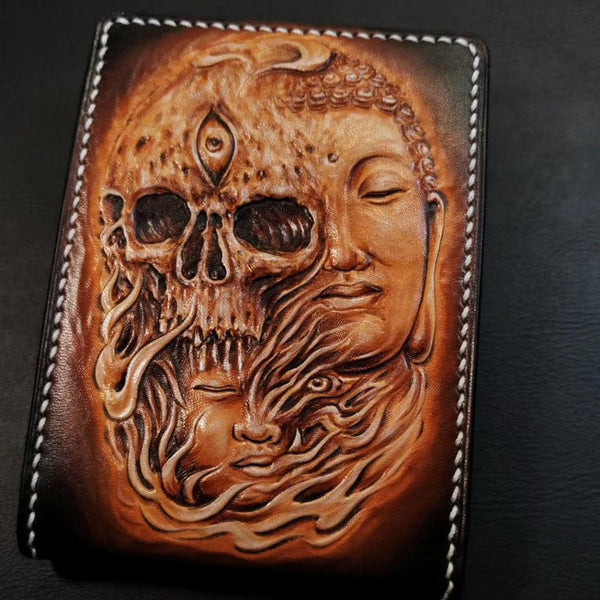 Handmade Leather Skull and Buddha Tooled Mens billfold Wallet Cool Leather Card Wallet Slim Wallet for Men