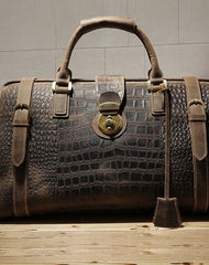 Cool Dark Brown Leather Men Alligator Pattern Doctor Bag Travel Bags Weekender Bags For Men