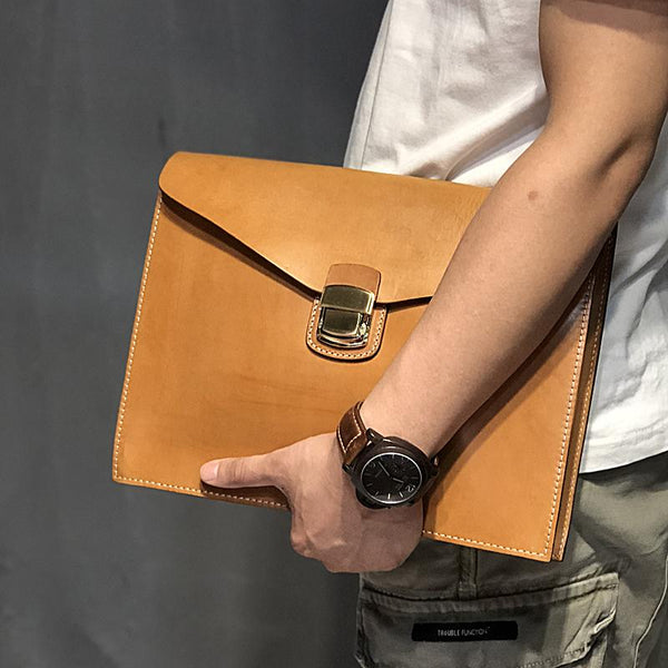Handmade Leather Mens A4 Envelope Bag 10 inches Clutch Bag Business Documents Bag For Men