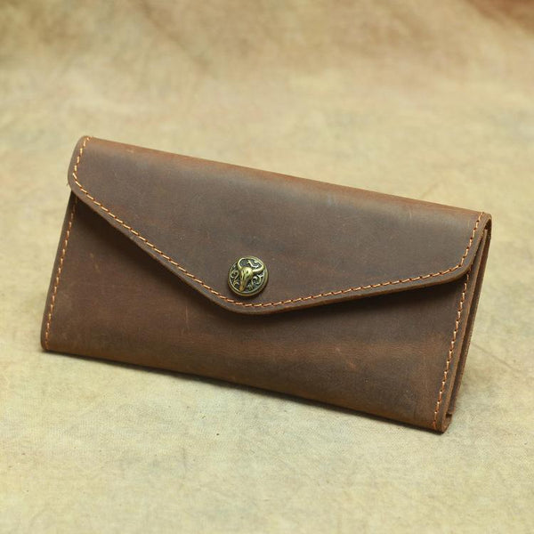 Vintage Mens Leather Long Wallet Envelope Long Wallet Phone Clutch Wallet For Men