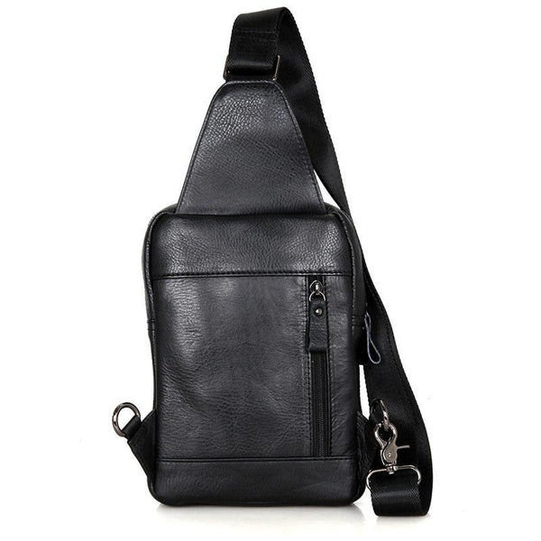Top Black Leather Backpack Men's  Sling Bag Chest Bag Top One shoulder Backpack Sling Pack For Men
