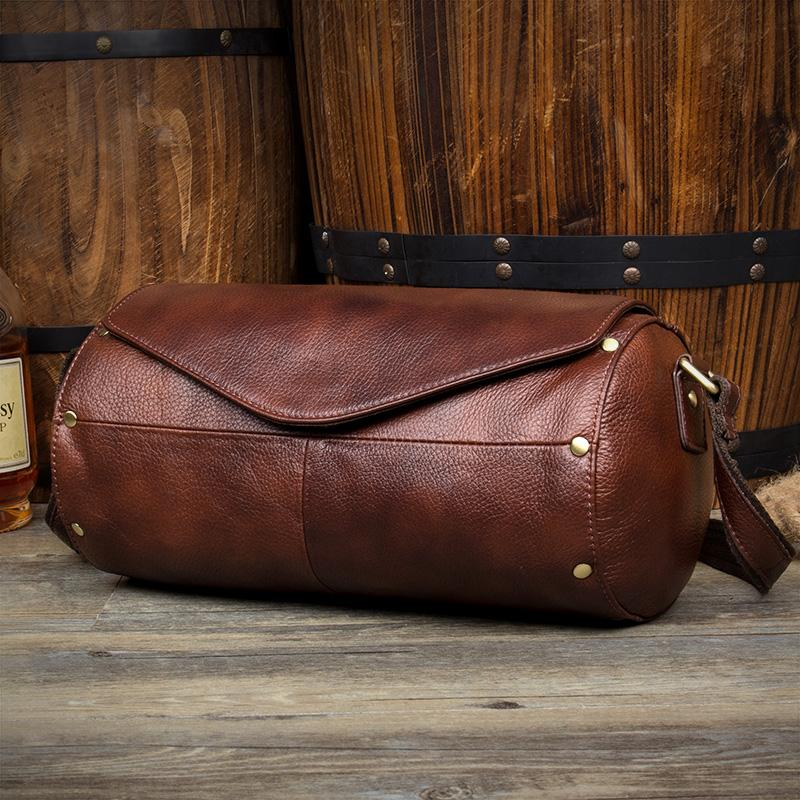 Cool Brown Leather Mens Bucket Courier Bag Side Bag Brown Postman Bag Messenger Bag For Men