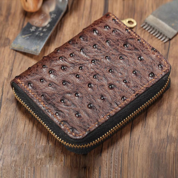 Cool Brown Leather Mens Zipper Bifold Small Wallet Card billfold Wallet For Men