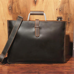 Slim Brown Leather Men's 13 inches Side Courier Bag Messenger Bag Briefcase Work Purse For Men