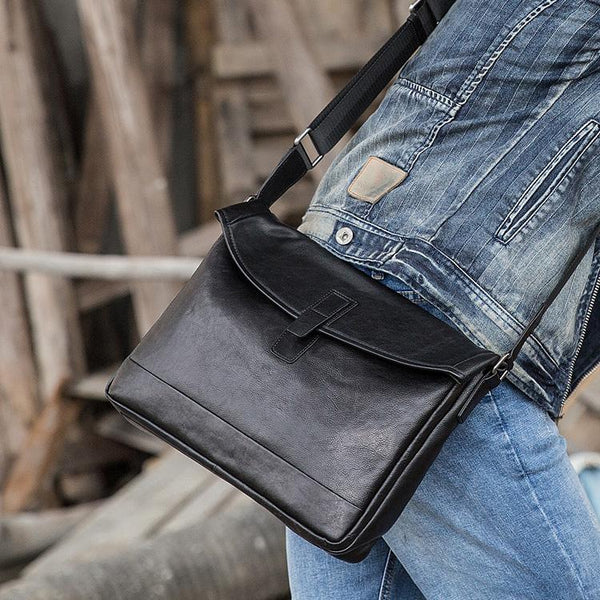 Black Casual Leather Mens 10 inches Side Bag Postman Bag Black Messenger Bags Courier Bag for Men