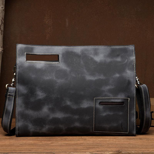 Fashion Black Mens Leather 10 inches Mens Gray Messenger Bag Brown Courier Bag Clutch Bag for Men