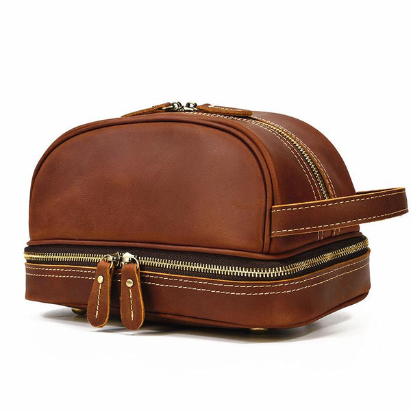 Brown Leather Men's Clutch Bag Double Zipped Wristlet Handbag Storage Bag For Men