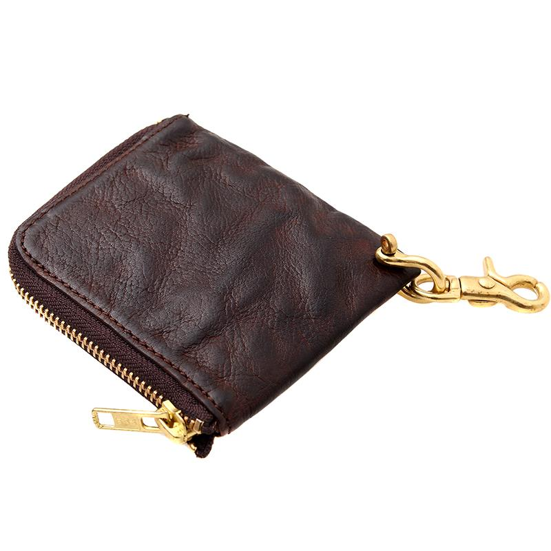 Cool Coffee Leather Mens Small Biker Chain Wallets Front Pocket Chain Wallet Small Wallet For Men
