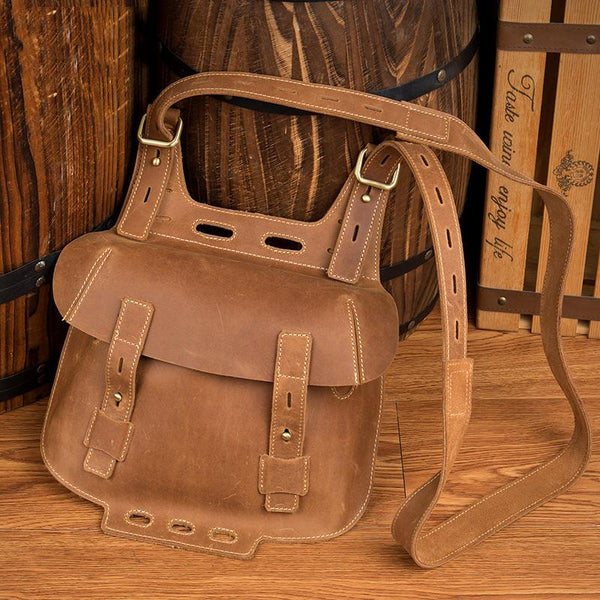 Dark Brown Leather 8 inches Mens Small Saddle Messenger Bags Shoulder Bags for Men