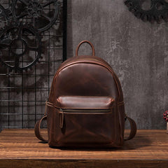 Vintage Mens Coffee Leather Backpack Travel Backpack Leather School Backpacks for Men