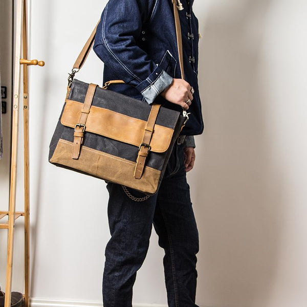 Canvas Leather Mens Side Bag Black 14'' Briefcase Gray Postman Bag Messenger Bag for Men