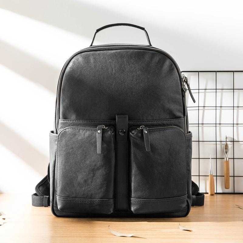Black Fashion Mens Leather 15-inch Computer Backpacks Black Travel Backpacks College Backpack for men