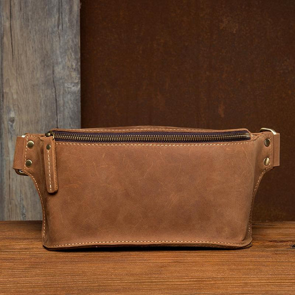 Cool Brown Leather Mens Fanny Packs Waist Bag Hip Pack Belt Bag Bumbag for Men