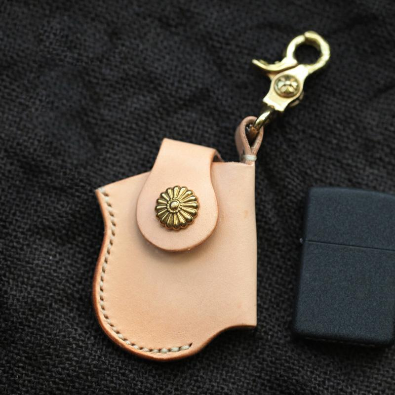 Cool Beige Keychain Leather Mens Zippo Lighter Cases With Belt Clip Lighter Holders For Men