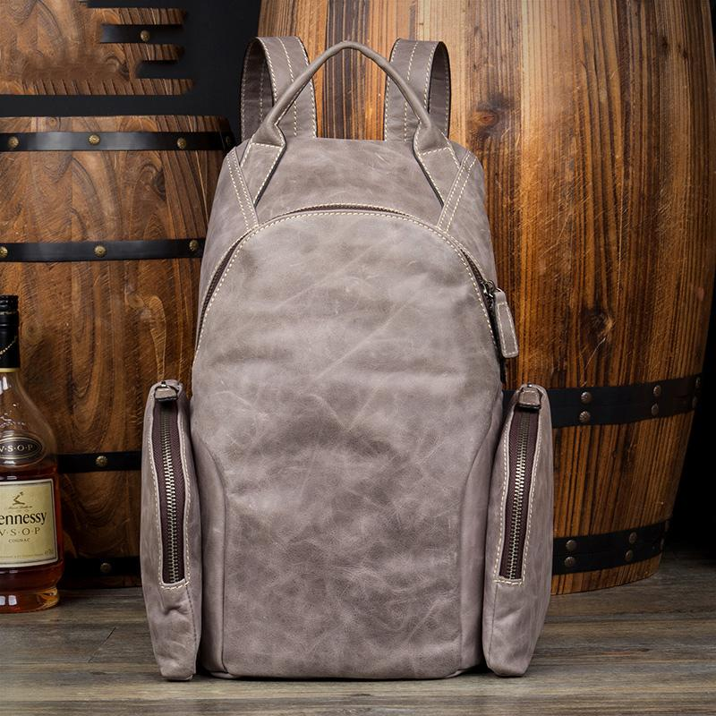 Gray Fashion Mens Leather 12-inch Computer Backpacks Cool Travel Backpacks School Backpack for men