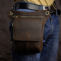 Biker Mens Leather Drop Leg Bags Waist Bag Belt Pouch Pack Sides Bags for Men