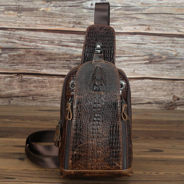 Crocodile Pattern Leather Backpack Men's Sling Bag Chest Bag Coffee One shoulder Backpack Sling Pack For Men