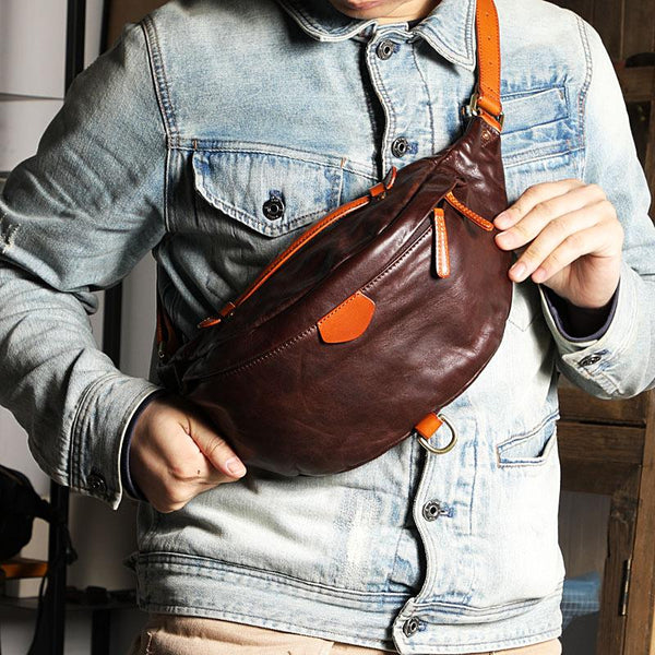 Black Handmade Leather Men Fanny Pack Waist Bag Coffee Hip Pack Belt Bag Bumbag for Men
