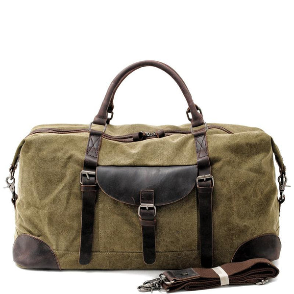 Cool Waxed Canvas Leather Mens Large Travel Weekender Bag Waterproof Duffle bag for Men