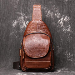 Brown Leather Men's Sling Bag Sling Pack Fashion Brown One shoulder Backpack For Men