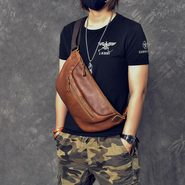 "Cool Leather Mens 8"" Large Brown Fanny Pack Waist Bag Hip Bag Chest Bag for Men"